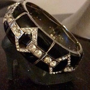 Jewelry - Plus Size Enamel And Crystal Stretch Bangle